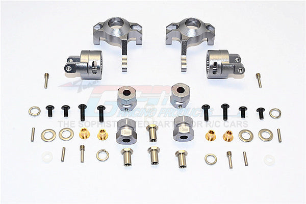 Axial RR10 Bomber & Wraith Aluminum Front C-Hub & Knuckle Arm (5 Degree Caster) - 4Pcs Set Gray Silver