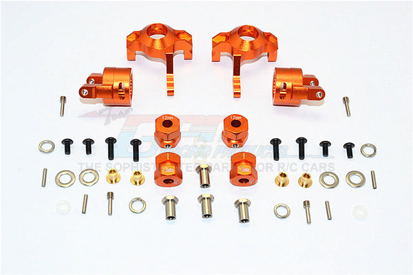 Axial RR10 Bomber & Wraith Aluminum Front C-Hub & Knuckle Arm (5 Degree Caster) - 4Pcs Set Orange