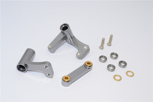 Traxxas Rustler VXL Aluminum Steering Assembly With Bearings - 1 Set Gray Silver