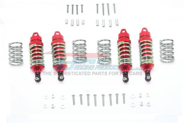Traxxas Rustler 4X4 VXL (67076-4) Aluminum Front + Rear Shocks (Low Center of Gravity Version) - 4Pc Set Red