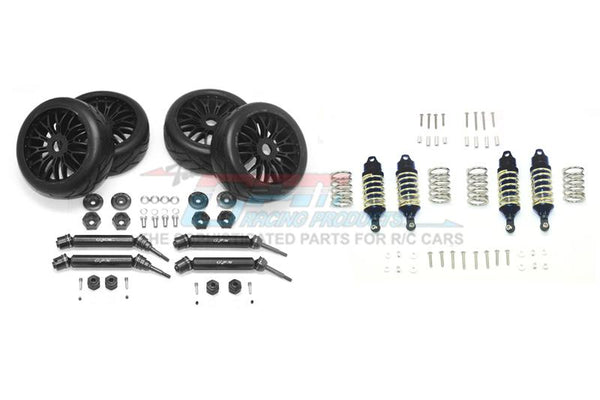 Traxxas Rustler 4X4 VXL (67076-4) Upgrade Parts Front & Rear Aluminum Shocks + Steel #45 Axles + Spring Steel Hex + Rubber Radial Tires (Low Center Of Gravity Set) - 88Pc Set Black