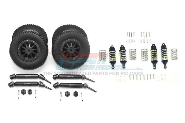 Traxxas Rustler 4X4 VXL (67076-4) Upgrade Parts Front & Rear Aluminum Shocks + Steel #45 Axles + Spring Steel Hex + Rubber Tires With Metal Rim (Low Center Of Gravity Set) - 68Pc Set Black