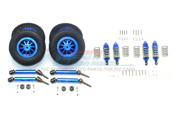 Traxxas Rustler 4X4 VXL (67076-4) Upgrade Parts Front & Rear Aluminum Shocks + Steel #45 Axles + Spring Steel Hex + Rubber Tires With Metal Rim (Low Center Of Gravity Set) - 68Pc Set Blue