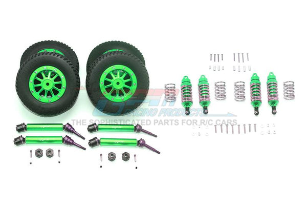 Traxxas Rustler 4X4 VXL (67076-4) Upgrade Parts Front & Rear Aluminum Shocks + Steel #45 Axles + Spring Steel Hex + Rubber Tires With Metal Rim (Low Center Of Gravity Set) - 68Pc Set Green