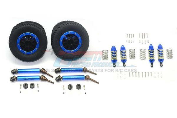 Traxxas Rustler 4X4 VXL (67076-4) Upgrade Parts Front & Rear Aluminum Shocks + Steel #45 Axles + Spring Steel Hex + Rubber Tires With Plastic Rim (Low Center Of Gravity Set) - 68Pc Set Blue