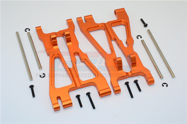 HPI Savage 21, X, XL, K4.6, FLUX Aluminum Front/Rear Adjustable Lower Arm With Screws & Pins & Delrin Collars - 1Pr Set Orange