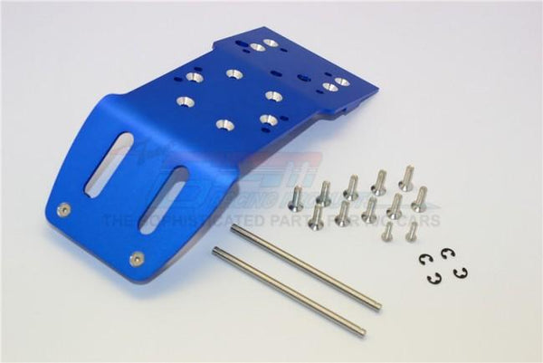 HPI Savage 21, X, XL, K4.6, Flux Aluminum Front Skid Plate With Screws & Pins & Aluminum Collars - 1Pc Set Blue
