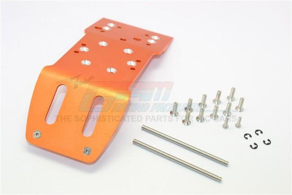 HPI Savage 21, X, XL, K4.6, Flux Aluminum Rear Skid Plate With Pins & Screws & Aluminum Collars - 1Pc Set Orange
