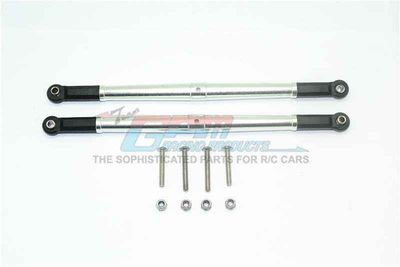 Losi 1/6 Super Baja Rey 4X4 Desert Truck Aluminum Adjustable Rear Upper Chassis Link Tie Rods - 1Pr Set Silver