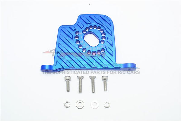 Losi 1/6 Super Baja Rey 4X4 Desert Truck Aluminum Motor Mount Plate With Heat Sink Fins - 1Pc Set Blue