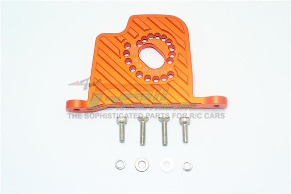 Losi 1/6 Super Baja Rey 4X4 Desert Truck Aluminum Motor Mount Plate With Heat Sink Fins - 1Pc Set Orange
