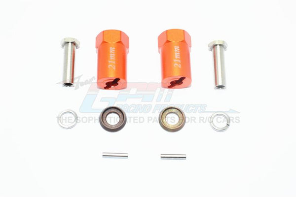 Axial SCX10 & SCX10 II Aluminum Hex Adapter 21mm Thick - 1Pr Set Orange