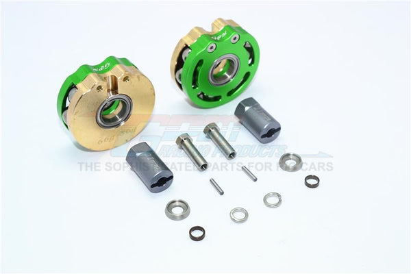 Axial SCX10 & SCX10 II Brass Pendulum Wheel Knuckle Axle Weight With Alloy Lid + 21mm Hex Adapter - 1Pr Set Green