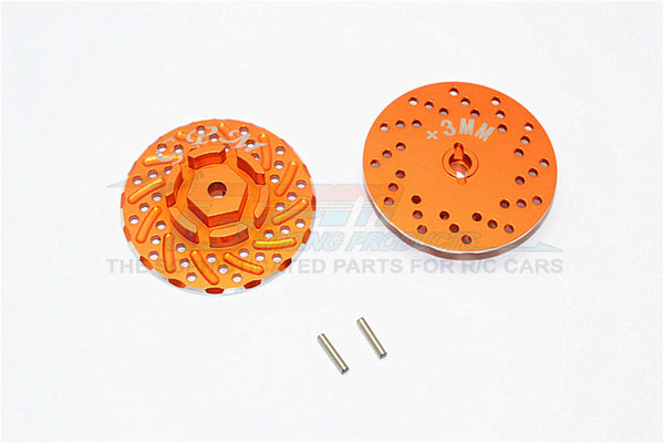 Axial SCX10 II (AX90046, AX90047) Aluminum Front/Rear Wheel Hex Claw +3mm With Brake Disk - 2Pcs Orange