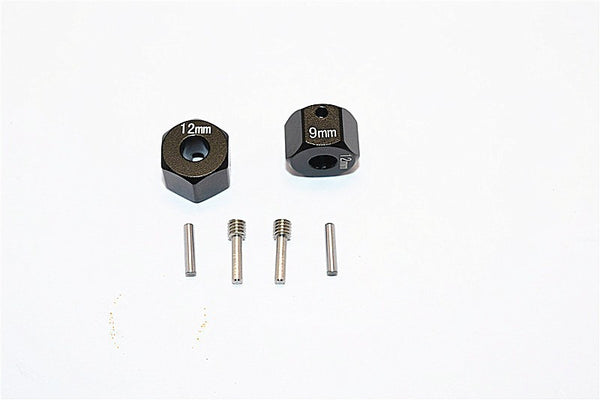 Axial SCX10 II (AX90046) Aluminum Wheel Hex Adapters 12mm X 9mm - 2Pcs Set Black