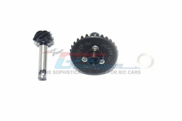 Axial SCX10 II Upgrade Parts (AX90046, AX90047, AXI90075) Harden Steel #45 Diff Bevel Gear 30T & Pinion Gear 8T - 3Pc Set Black