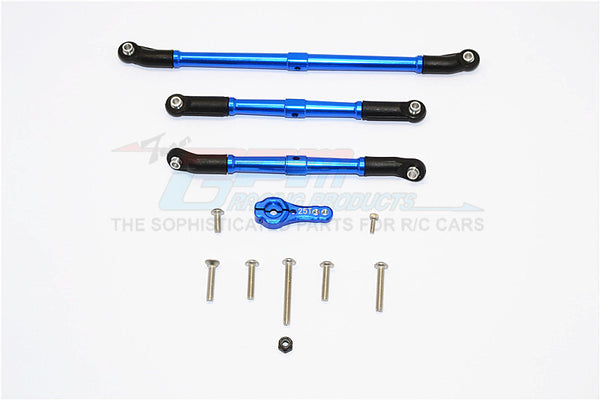 Axial SCX10 II (AX90046, AX90047) Aluminum Adjustable Steering Links With 25T Servo Horn - 4Pcs Set Blue