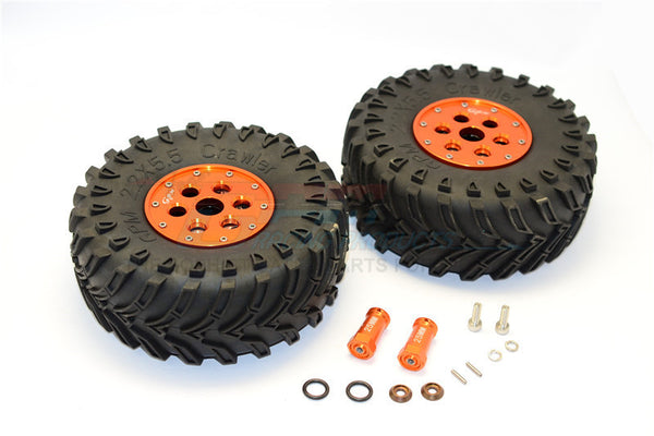 Axial SCX10 II (AX90046, AX90047) 2.2 Inch Rubber Tires With Aluminum Beadlock Weighted Wheels & 25mm Hex Adapters - 1Pr Set Orange