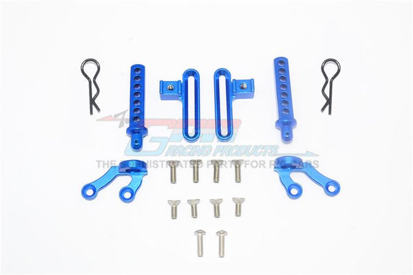 Axial SCX10 II UMG10 (AXI90075) Aluminum Front Body Post & Stabilizer - 18Pc Set Blue