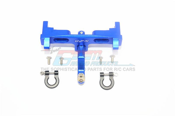Axial SCX10 II UMG10 (AXI90075) Aluminium Rear Bumper Mount + D-Rings + Tow Hook - 1 Set Blue
