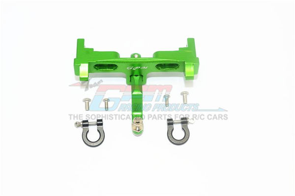Axial SCX10 II UMG10 (AXI90075) Aluminium Rear Bumper Mount + D-Rings + Tow Hook - 1 Set Green