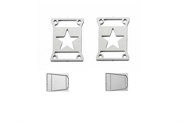 R/C Scale Accessories : Taillight Cover (Style A) For Axial SCX10 III Jeep Jl Wrangler AXI03007 - 4Pc Set Silver
