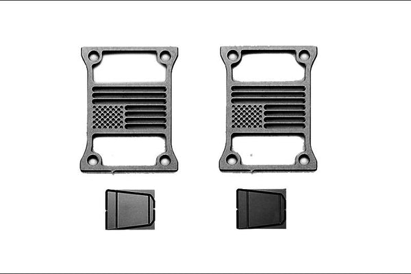 R/C Scale Accessories : Taillight Cover (Style C) For Axial SCX10 III Jeep Jl Wrangler AXI03007 - 4Pc Set Black