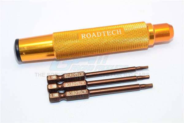 Magnetic Hex Driver With Pin (2, 2.5, 3mm) - 4Pcs Set Gold