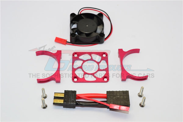 Traxxas Slash 4x4 LCG (68086-21) / TRX-4 Trail Crawler (82056-4) Aluminum Motor Heatsink With Cooling Fan - 1 Set Red