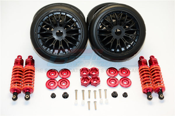 Traxxas Slash 4x4 & Slash 4x4 LCG Aluminum Rally Racing Dampers And Tires - 4Pc Set Red