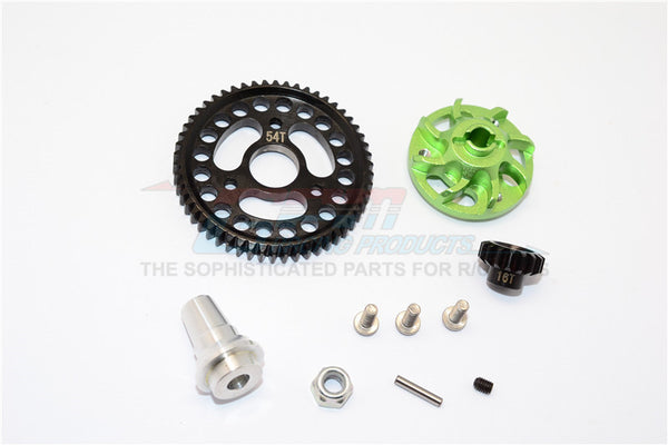 Traxxas Slash 4x4 LCG Aluminum Gear Adapter With Steel 32 Pitch 54T Spur Gear & 16T Motor Gear - 1 Set Green