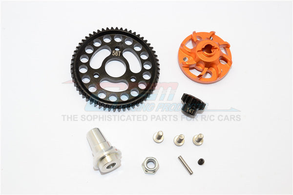 Traxxas Slash 4x4 LCG Aluminum Gear Adapter With Steel 32 Pitch 56T Spur Gear & 14T Motor Gear - 1 Set Orange