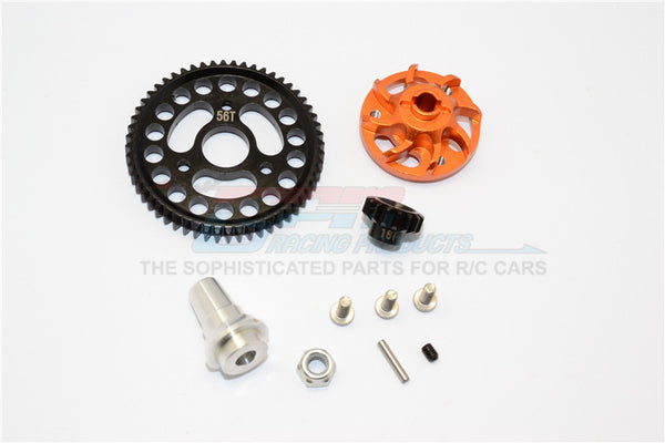 Traxxas Slash 4x4 LCG Aluminum Gear Adapter With Steel 32 Pitch 56T Spur Gear & 16T Motor Gear - 1 Set Orange