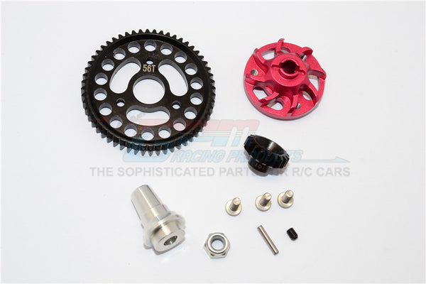 Traxxas Slash 4x4 LCG Aluminum Gear Adapter With Steel 32 Pitch 56T Spur Gear & 18T Motor Gear - 1 Set Red