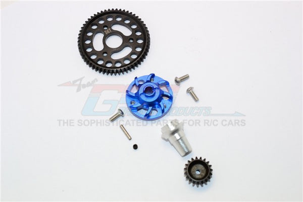 Traxxas Slash 4x4 Low-CG Version Aluminum Gear Adapter With Steel 32 Pitch 56T Spur Gear & 19T Motor Gear - 1 Set Blue