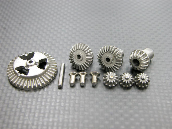 Kyosho Mini Inferno Hard Steel Gear Set For Front/Rear Differential Assembly - 7 Pcs Set Silver