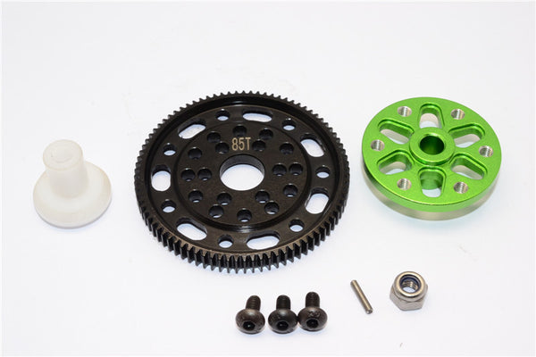 Axial SCX10 & Wraith Steel #45 Spur Gear 48 Pitch 85T + Aluminum Spur Gear Adapter - 1 Set Green
