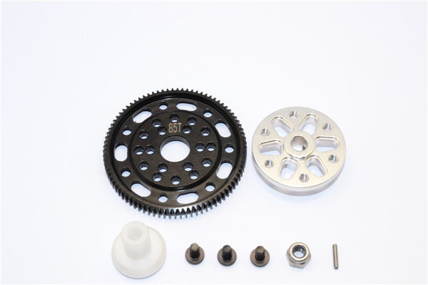 Axial SCX10 & Wraith Steel #45 Spur Gear 48 Pitch 85T + Aluminum Spur Gear Adapter - 1 Set Silver