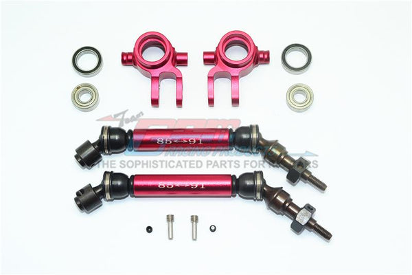 Traxxas Slash 4X4 / Slash 4X4 LCG Steel+Aluminium Widen Front CVD Drive Shaft With Knuckle Arm - 12Pc Set Red