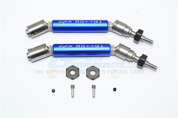Traxxas Slash 4X4 / Slash 4X4 LCG Stainless Steel 304 + Aluminum Front CVD Drive Shaft With Steel Wheel Hex - 1Pr Set Blue