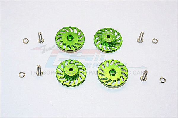 Traxxas LaTrax SST & LaTrax Teton Aluminum Wheel Hex Adapter +2mm With Brake Disk - 4Pcs Set Green