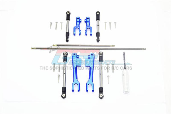 Traxxas Unlimited Desert Racer 4X4 (#85076-4) Spring Steel Front + Rear Sway Bar & Aluminum Sway Bar Arm & Stainless Steel Linkage - 23Pc Set Blue