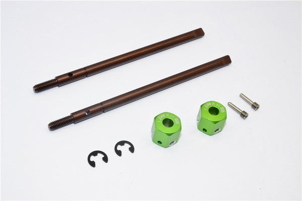 Gmade Sawback Spring Steel Rear Drive Shaft (L98mm, R102mm) With 11mm Hex Adapter For 5mm Wider - 2Pcs Set Green