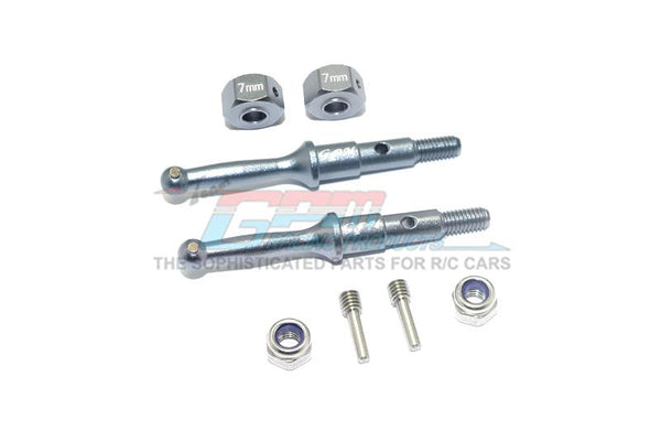 Tamiya T3-01 Dancing Rider Trike Aluminum Rear Wheel Shaft With Hex Adapter (7mm) - 8Pc Set Gray Silver