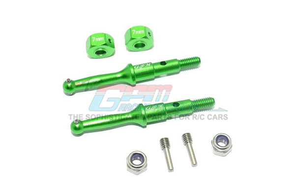 Tamiya T3-01 Dancing Rider Trike Aluminum Rear Wheel Shaft With Hex Adapter (7mm) - 8Pc Set Green