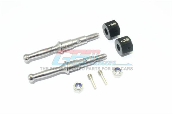 Tamiya T3-01 Dancing Rider Trike Stainless Steel Rear Wheel Shaft With Aluminum Hex Adapter (+2mm) - 4Pc Set Black