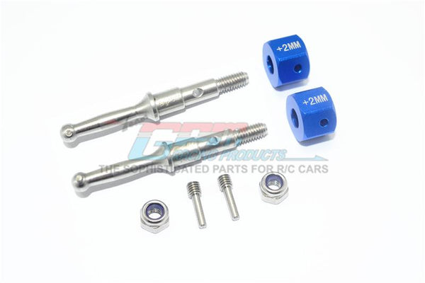 Tamiya T3-01 Dancing Rider Trike Stainless Steel Rear Wheel Shaft With Aluminum Hex Adapter (+2mm) - 4Pc Set Blue