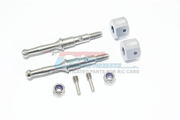Tamiya T3-01 Dancing Rider Trike Stainless Steel Rear Wheel Shaft With Aluminum Hex Adapter (+2mm) - 4Pc Set Silver