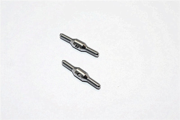 Aluminum 3mm Clockwise And Anti Clockwise Turnbuckles (Total Length 25mm, Both Sides Thread 7.5mm, Body 10mm) - 1Pr Gray Silver - JTeamhobbies