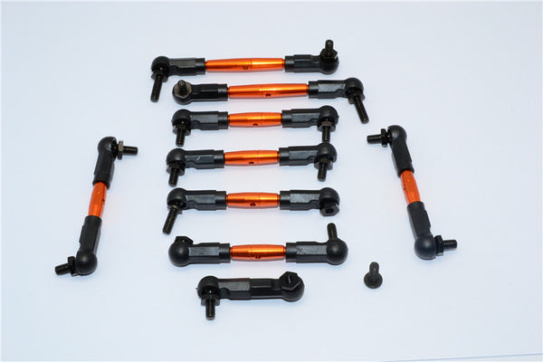 Tamiya TB04 Aluminum Steering & Push Rods - 9 Pcs Set Orange
